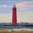 1 of 3 Muskegon, MI Lighthouses. on a Blustery Day by Deb  Badt-Covell