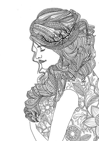 Pósters Dibujos Para Colorear Para Los Adultos Mujer De Yuna26