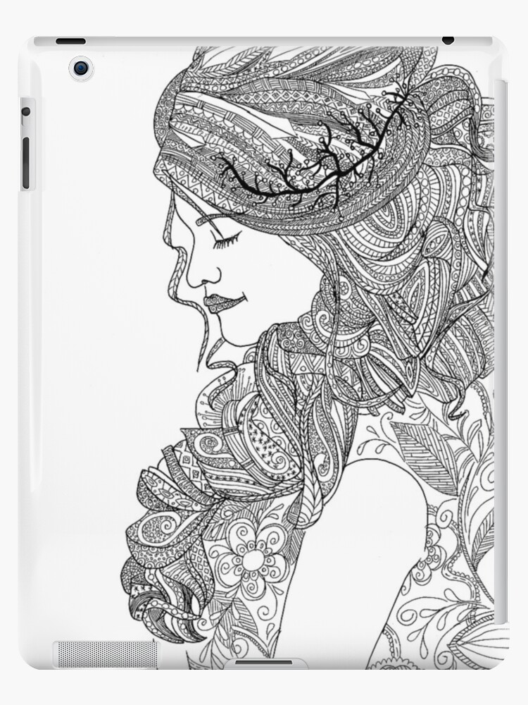 Coloriage Pour Adulte Femme Coques Et Skins Ipad Par Yuna26