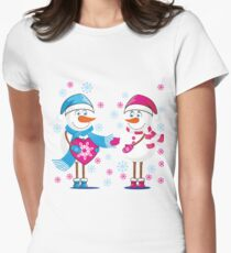 Lovers snowmen. Christmas. Winter. Women's Fitted T-Shirt