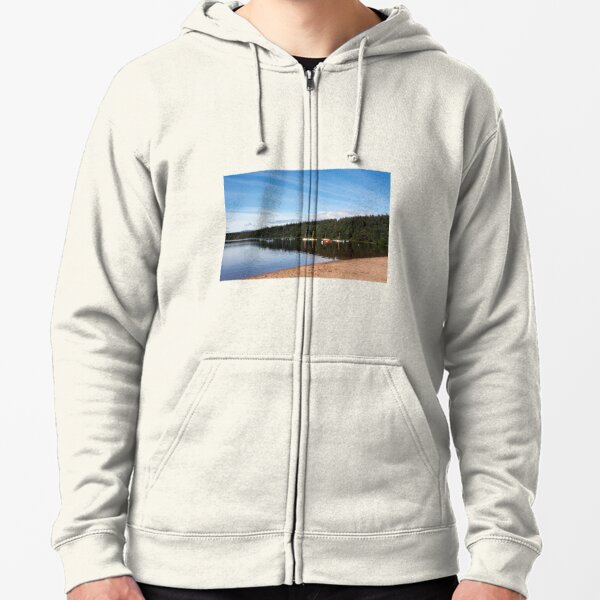 Moored boats on peaceful loch Zipped Hoodie