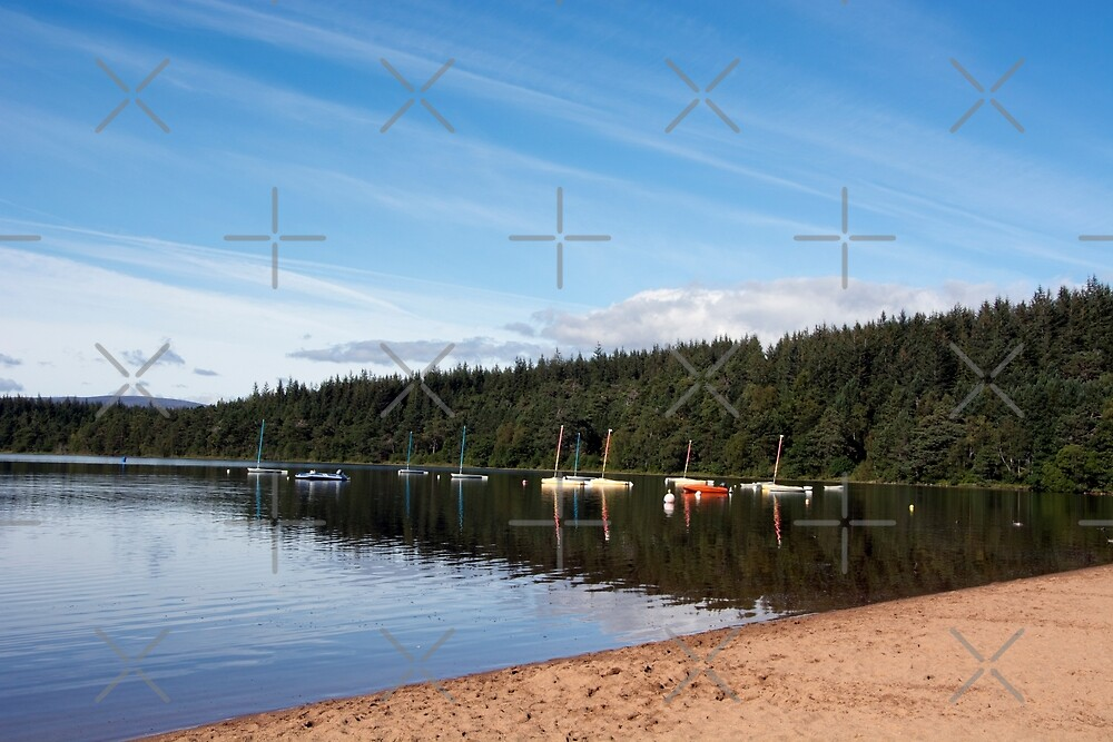 Moored boats on peaceful loch by SiobhanFraser