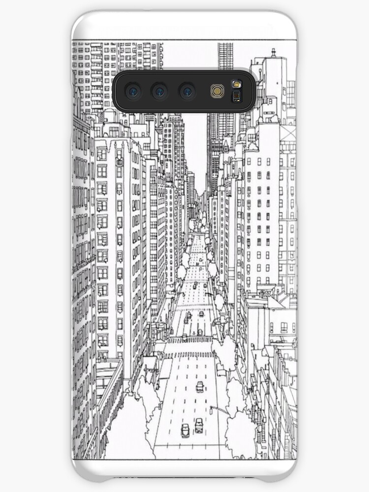 Coloriage Adulte New York.Coque Et Skin Adhesive Samsung Galaxy Coloriage Pour Adulte New York Par Yuna26