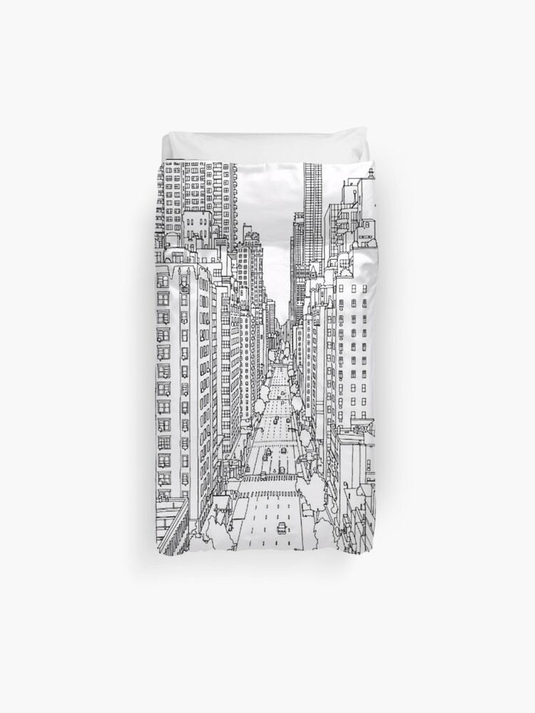 Adult Coloring Pages New York Duvet Cover By Yuna26 Redbubble
