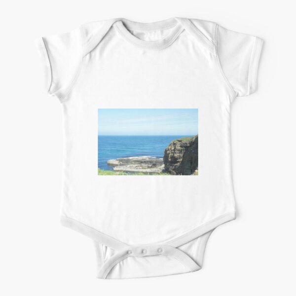 Rocks and raised ledge in sea Short Sleeve Baby One-Piece