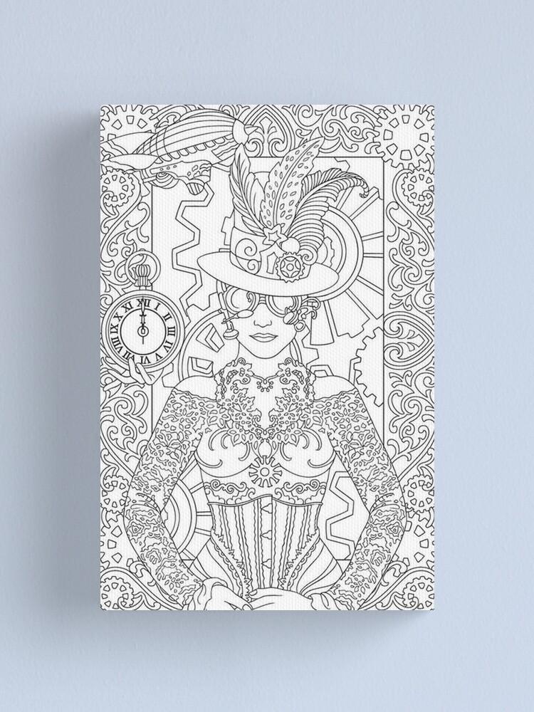 Lienzo Dibujos Para Colorear Para Los Adultos Mujer Reloj De Yuna26 Redbubble