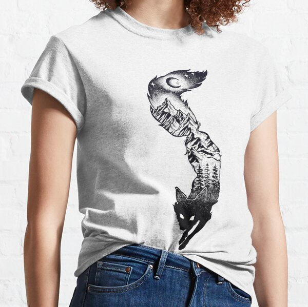 Surreal Fox Silhouette with Mountains, Tress, Moon & Stars Classic T-Shirt