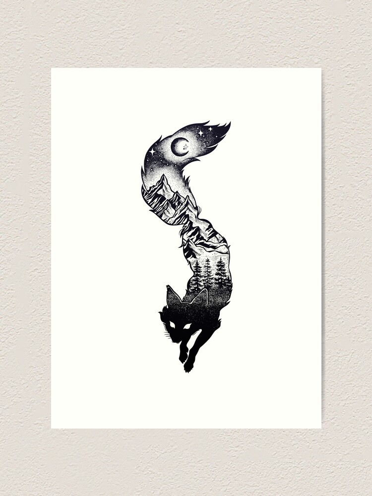 Alternate view of Surreal Fox Silhouette with Mountains, Tress, Moon & Stars Art Print