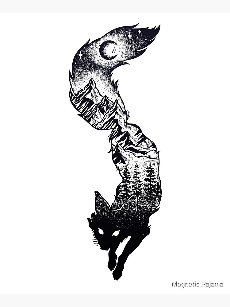 Surreal Fox Silhouette with Mountains, Tress, Moon & Stars by MagneticMama