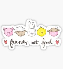 Friends Not Food Vegetarian and Vegan with Cute Farm Animals Sticker