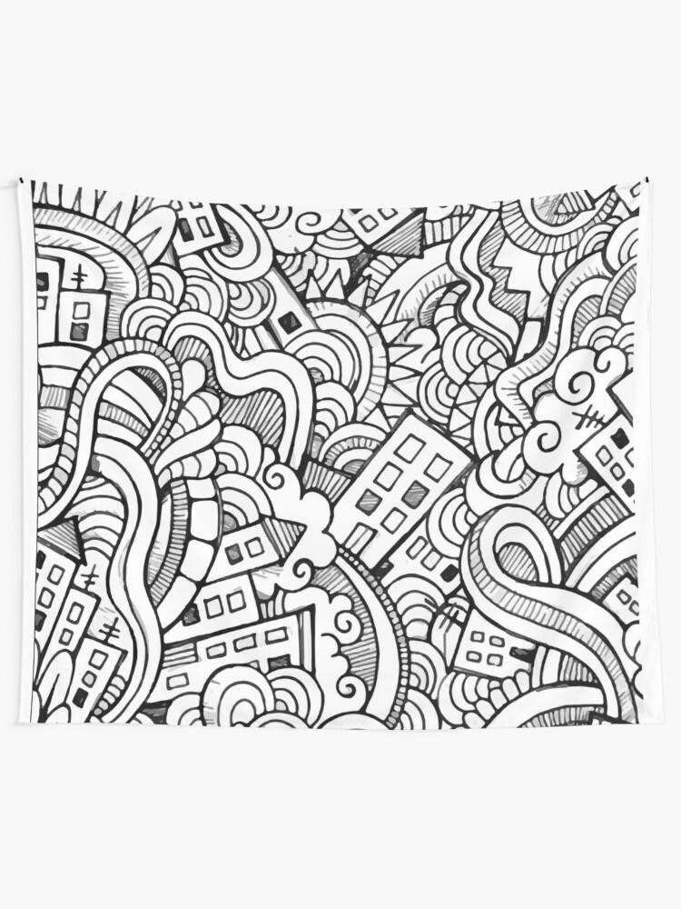 Dibujos Para Colorear Para Los Adultos Doodle De La Ciudad Tela Decorativa