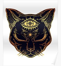 Egyptian Cat with Third Eye Open Poster