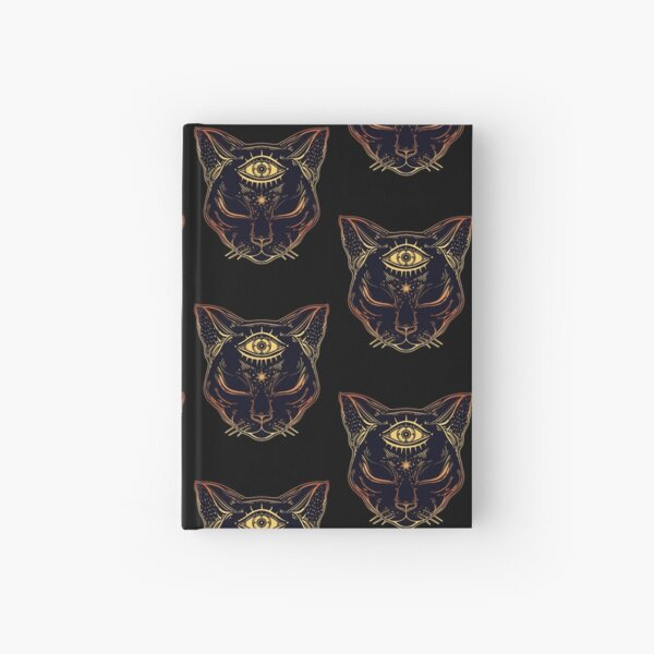 Egyptian Cat with Third Eye Open Hardcover Journal