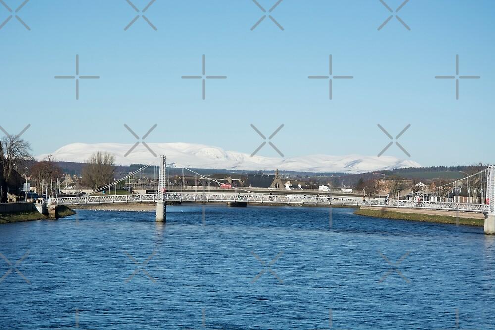 Ben Wyvis with Ness Bridge, Inverness by SiobhanFraser