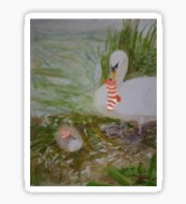 Swans getting ready for Christmas Sticker