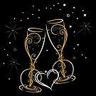 Silvester mit Feuerwerk und Champagner Gläser. von Christine Krahl