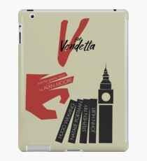 V for vendetta, minimal movie poster, with Natalie Portman, Stephen Fry, film based on the graphic novel by Alan Moore on Guy Fawkes iPad Case/Skin