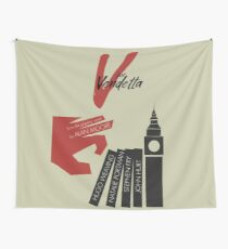 V for vendetta, minimal movie poster, with Natalie Portman, Stephen Fry, film based on the graphic novel by Alan Moore on Guy Fawkes Wall Tapestry