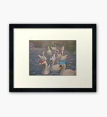Nene Swans Christmas Party Framed Print