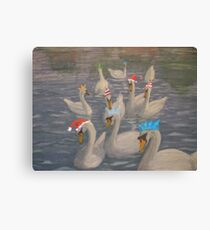 Nene Swans Christmas Party Canvas Print