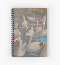 Nene Swans Christmas Party Spiral Notebook