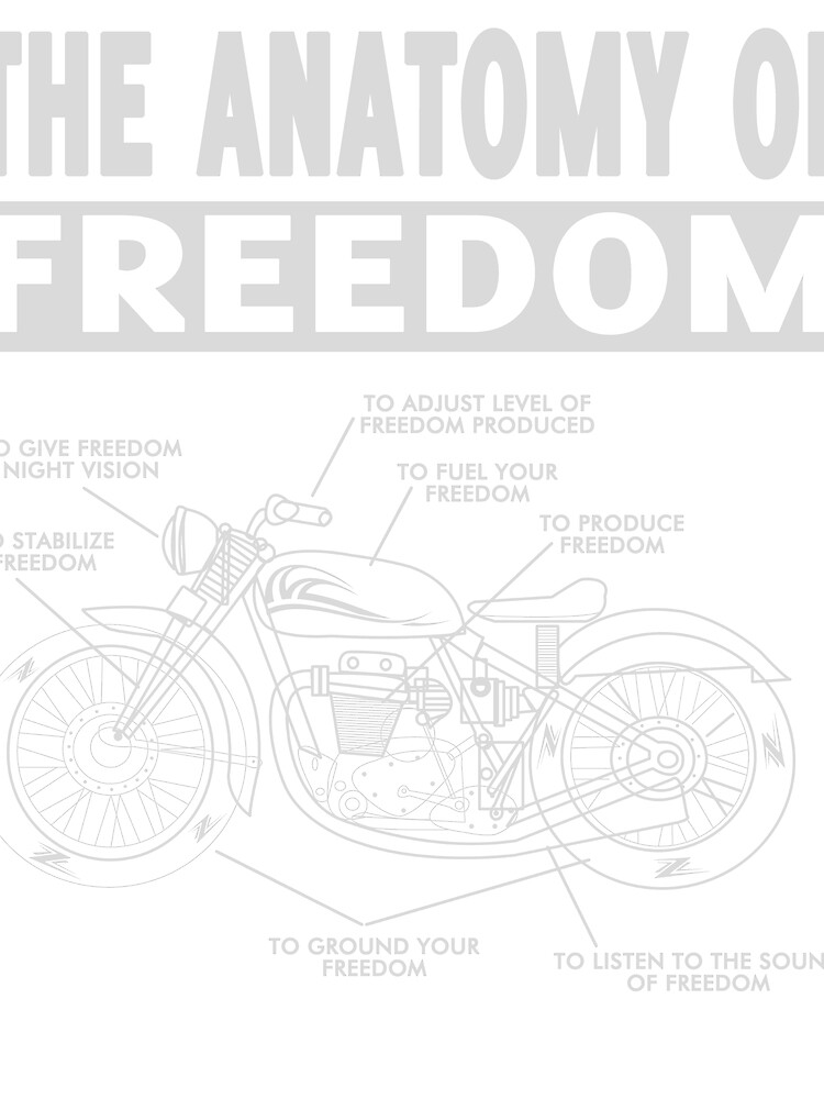 The anatomy of freedom motorcycle T-shirt\
