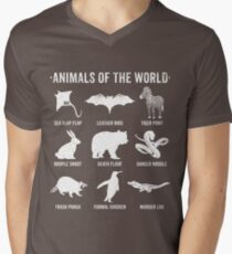 Simple Vintage Humor Funny Rare Animals of the World V-Neck T-Shirt