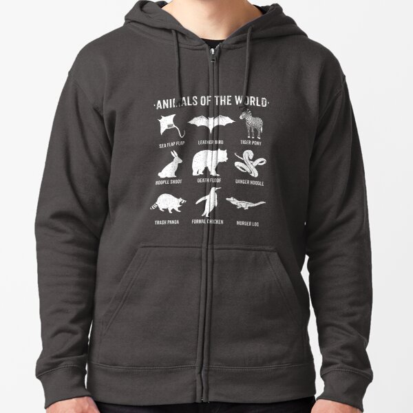 Simple Vintage Humor Funny Rare Animals of the World Zipped Hoodie