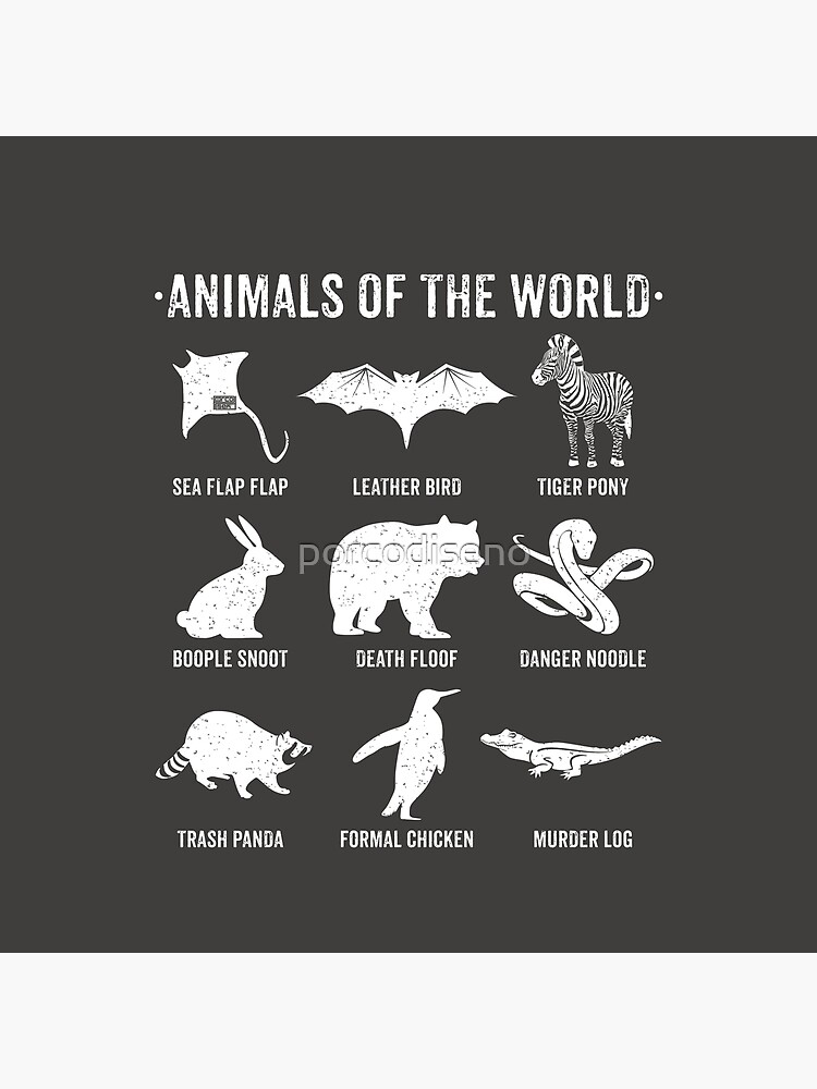 Simple Vintage Humor Funny Rare Animals of the World by porcodiseno