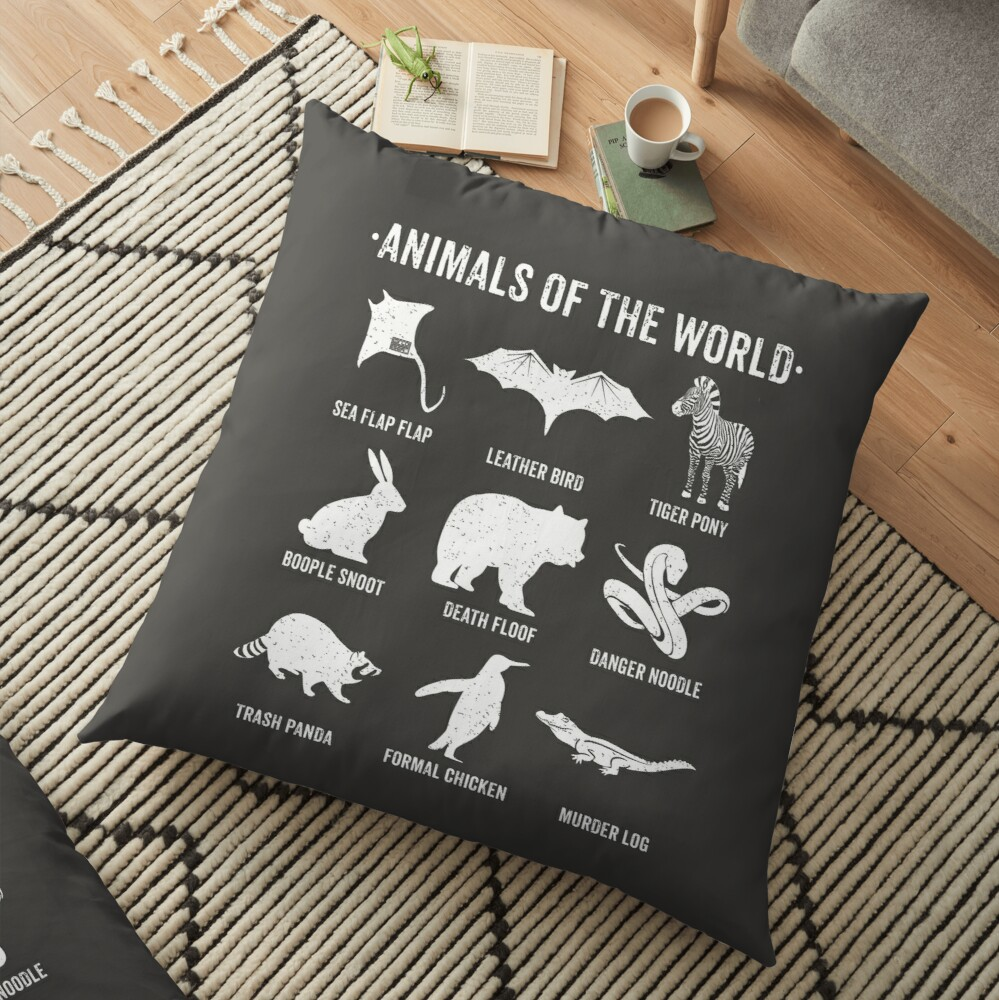 Simple Vintage Humor Funny Rare Animals of the World Floor Pillow