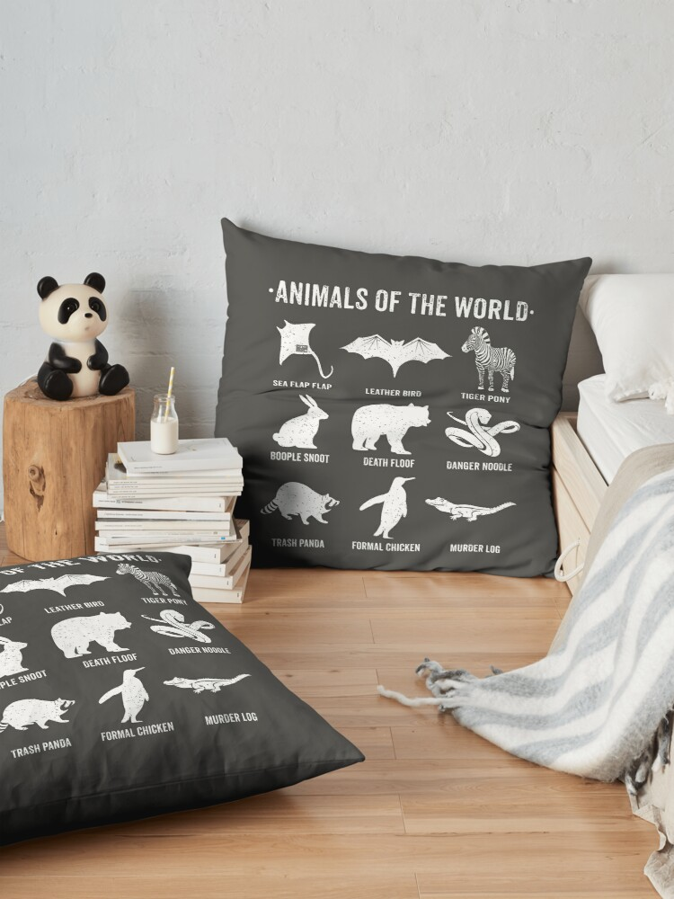 Alternate view of Simple Vintage Humor Funny Rare Animals of the World Floor Pillow