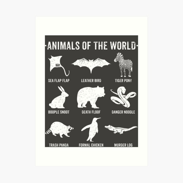 Simple Vintage Humor Funny Rare Animals of the World Art Print