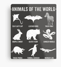 Simple Vintage Humor Funny Rare Animals of the World Metal Print