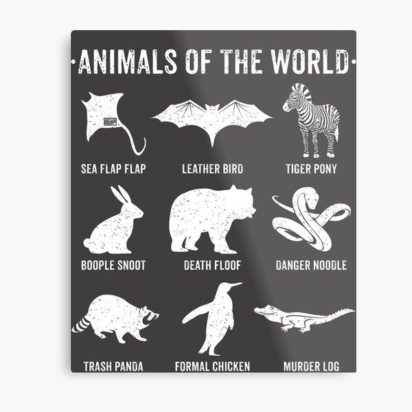 Simple Vintage Humor Funny Rare Animals of the World Metal Print