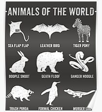 Simple Vintage Humor Funny Rare Animals of the World Poster