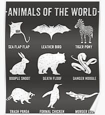 Einfache Vintage Humor Lustige seltene Tiere der Welt Poster