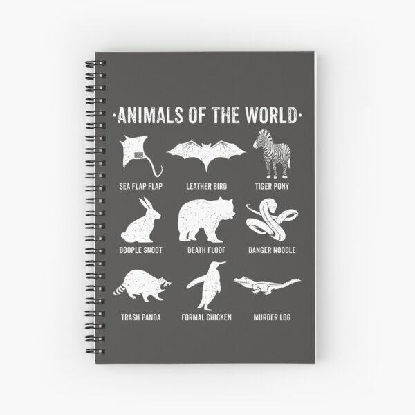 Simple Vintage Humor Funny Rare Animals of the World Spiral Notebook