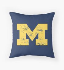 Vintage Michigan Block M Yellow Throw Pillow