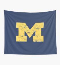 Vintage Michigan Block M Yellow Wall Tapestry