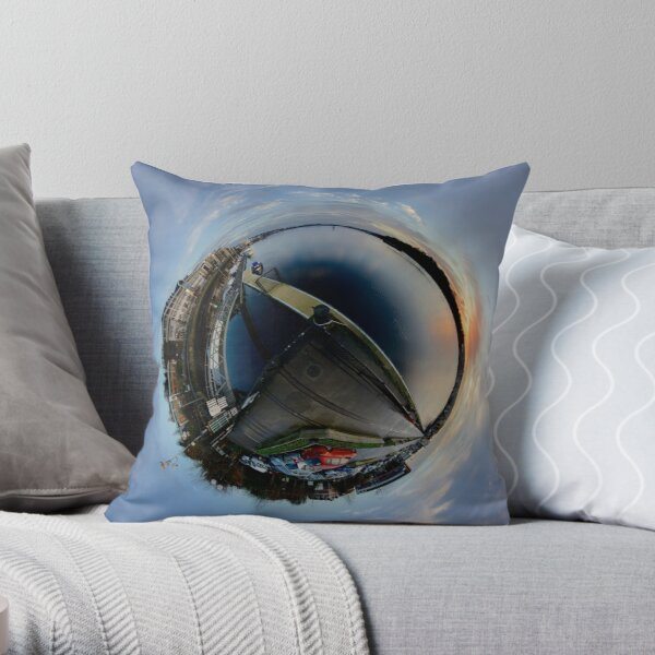 Foyle Marina at Dawn, Stereographic Throw Pillow