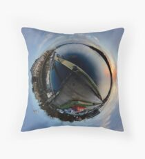 Foyle Marina at Dawn, Stereographic Throw Pillow