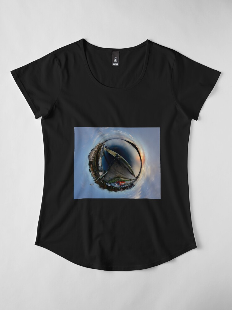 Alternate view of Foyle Marina at Dawn, Stereographic Premium Scoop T-Shirt