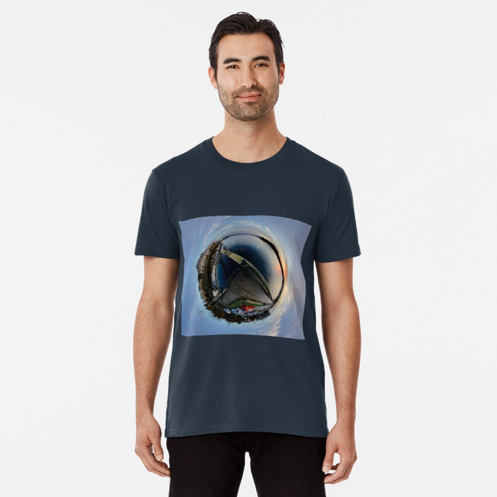 Foyle Marina at Dawn, Stereographic Premium T-Shirt