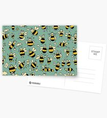 Funny bees, seamless pattern Postcards