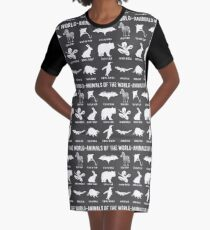 Simple Vintage Humor Funny Rare Animals of the World Graphic T-Shirt Dress