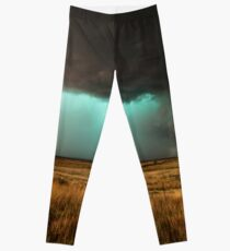 Jewel of the Plains - Incredible Texas Storm with Teal Hue Leggings