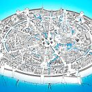 Fantasy city map in blue by Karolina Wegrzyn