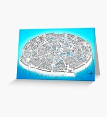 Fantasy city map in blue Greeting Card