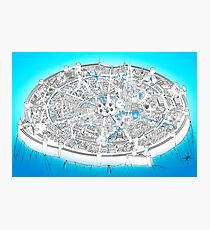 Fantasy city map in blue Photographic Print