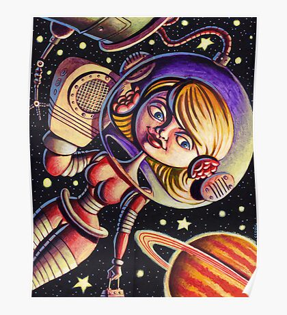 Space Girl's Mobile Poster